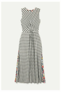 McQ Alexander McQueen - Paneled Checked Flannel And Floral-print Crepe Midi Dress - Black