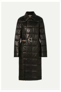 Bottega Veneta - Chain-embellished Quilted Leather Coat - Black