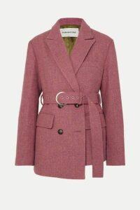 Andersson Bell - Oversized Asymmetric Belted Wool-tweed Blazer - Pink