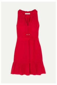 Heidi Klein - Ruffled Silk Crepe De Chine Mini Dress - Red