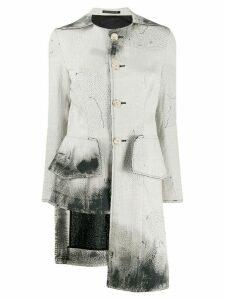 Yohji Yamamoto Long Quilting asymmetric coat - Neutrals