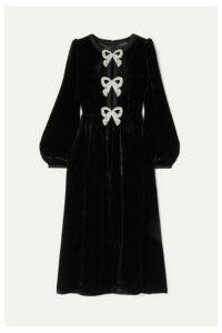 Saloni - Camille Bow-embellished Velvet Midi Dress - Black
