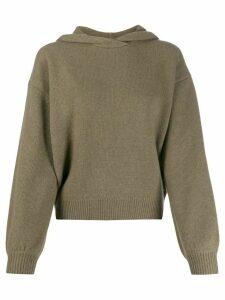 Pringle of Scotland cropped volume sleeve hoodie - Green