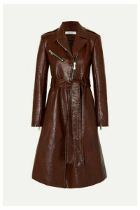Beaufille - Leyster Belted Lizard-effect Coated-cotton Coat - Merlot