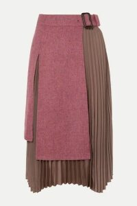 Andersson Bell - Layered Wool-tweed And Pleated Satin Midi Skirt - Pink