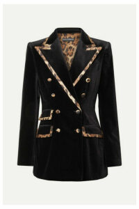 Dolce & Gabbana - Leopard-print Satin-trimmed Cotton And Silk-blend Velvet Blazer - Black