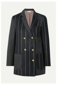 Thom Browne - Double-breasted Paneled Pinstriped Wool-felt And Twill Blazer - Midnight blue