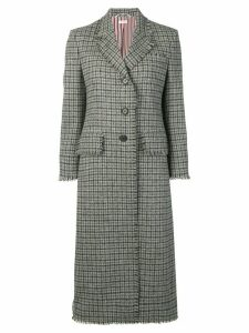 Thom Browne Gun Club Check Shetland Overcoat - Grey