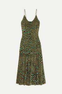 Caroline Constas - Kai Metallic Leopard-print Fil Coupé Stretch-jersey Midi Dress - Army green