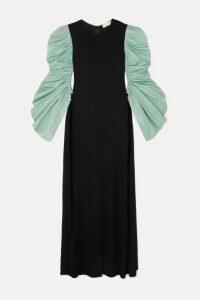 Tory Burch - Ruched Taffeta And Crepe Maxi Dress - Black