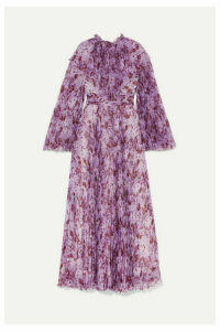 Giambattista Valli - Pleated Floral-print Silk-chiffon Maxi Dress - Purple