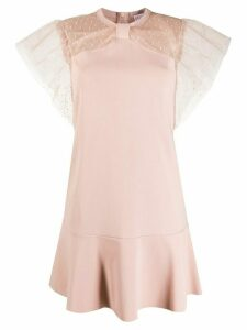 Red Valentino point d'esprit embellished pleated dress - PINK