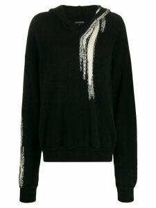 Ann Demeulemeester long sleeved knitted hoodie - Black