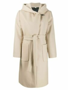 Fay hooded shawl coat - Neutrals