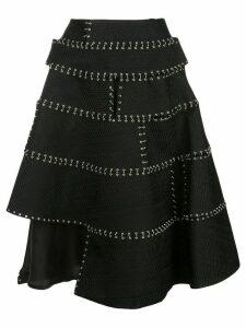 Comme Des Garçons Noir Kei Ninomiya stitch-detail flared skirt - Black