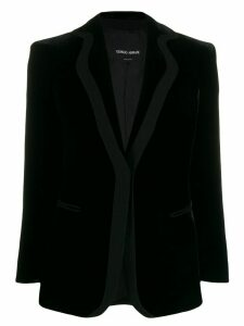 Giorgio Armani velvet single-breasted blazer - Black