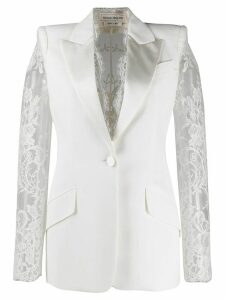 Alexander McQueen lace details single-breasted blazer - White