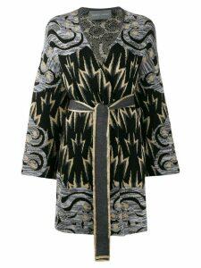 Alberta Ferretti geometric intarsia cardi-coat - Black