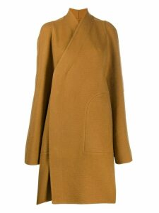 Rick Owens single breasted wrap coat - Brown