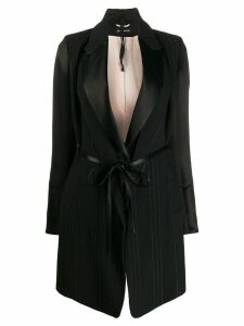 Ann Demeulemeester striped belted coat - Black