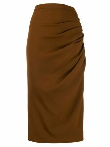 Rochas ruched mid-length skirt - Brown