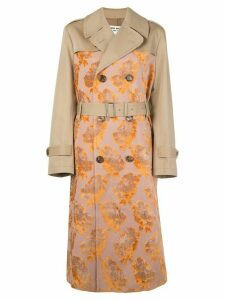 Junya Watanabe floral pattern double-breasted coat - ORANGE