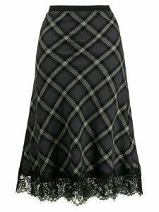 Gold Hawk lace-trim plaid skirt - Grey