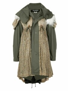 Junya Watanabe patchwork zip-front mid-length coat - Green