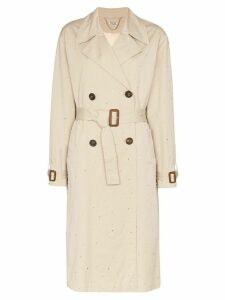 Miu Miu diamanté-embellished gabardine trench coat - Neutrals