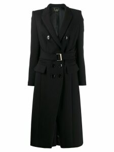 Elisabetta Franchi fitted belted coat - Black