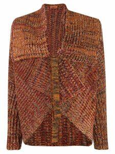 Missoni knitted asymmetric tied cardigan - ORANGE