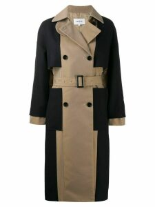 Enföld contrast double-breasted coat - NEUTRALS