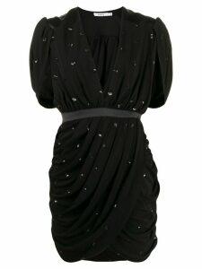 Amen draped plunge mini dress - Black