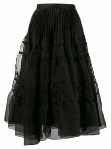 Rochas A-line midi-skirt - Black
