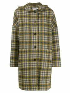 YMC check hooded coat - Green