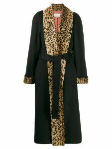Gucci leopard print trim oversized coat - Black