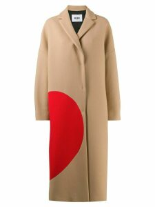 MSGM broken heart detail oversized coat - Brown
