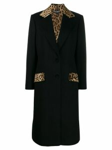 Dolce & Gabbana tailored leopard print panel coat - Black