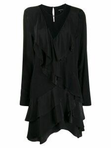 Barbara Bui ruffled mesh silk dress - Black