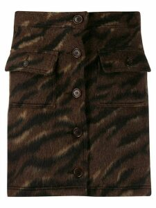 YMC button-down animal pattern skirt - Brown