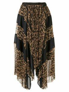 Sacai pleated leopard print skirt - Brown