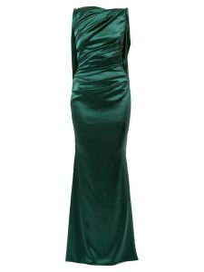 Talbot Runhof ruched detail fitted evening dress - Green