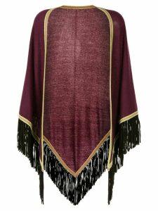 Talbot Runhof striped edge fringed poncho jacket - Purple