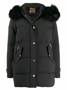 LIU JO faux fur trimmed padded coat - Black