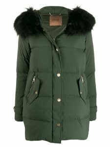 LIU JO faux fur trimmed padded coat - Green