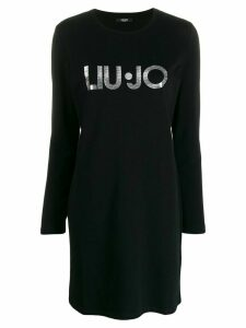 LIU JO metallic logo T-shirt dress - Black