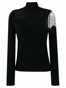 LIU JO lace panel fine knit sweater - Black