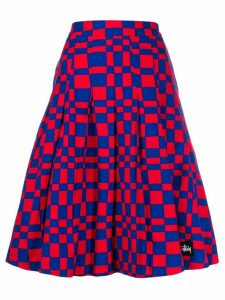 Stussy square print midi skirt - Red