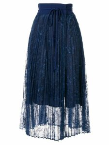 Mame Kurogouchi high waisted pleated midi skirt - Blue