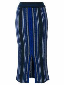 Mame Kurogouchi striped knitted midi skirt - Blue